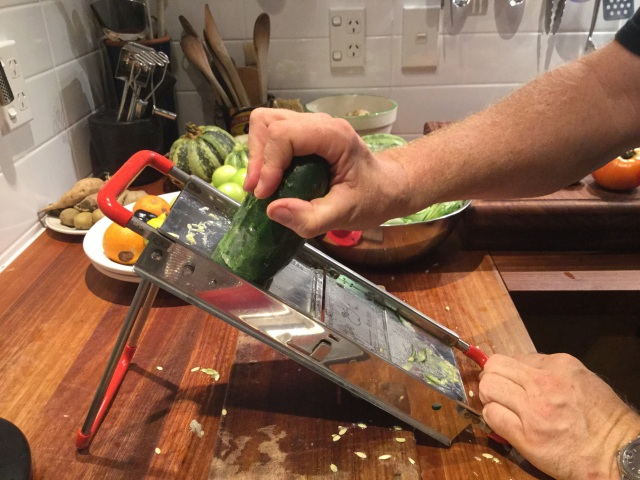 Making pickles with a mandolin