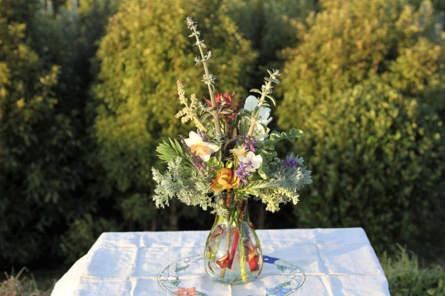 Rhubarb Flower Vase on table