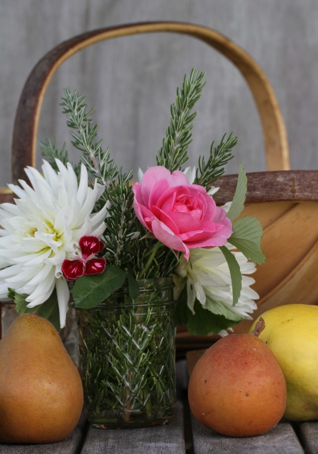 rose and dahlias and quince and pears