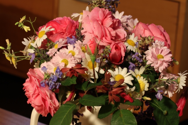 roses and daisies with Salvia cut flowers