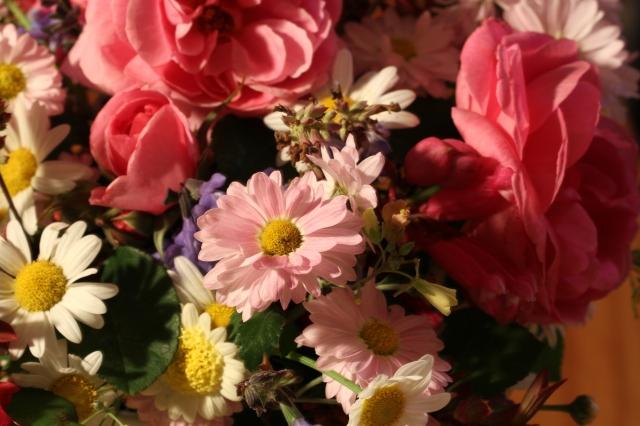 roses and pink chrysanthemum cut flowers