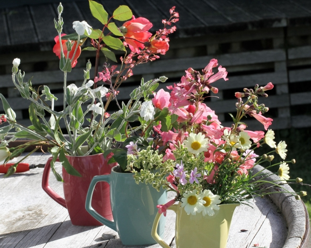 3 jugs of flowers