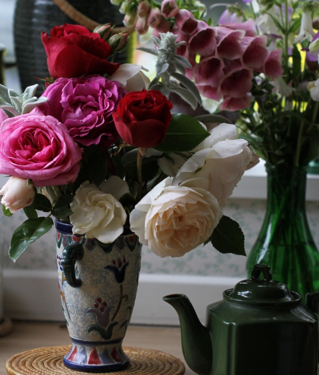 english roses foxglove strawberry merton cut flowers and teapot