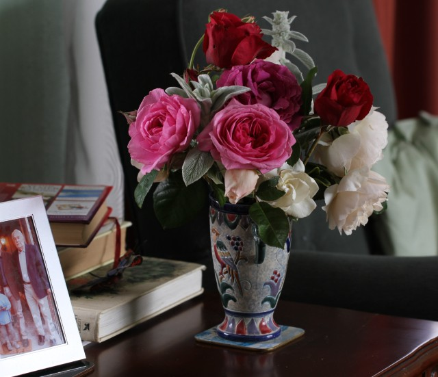 vase of english roses and lambs ears