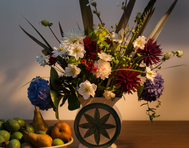 cut flowers and fruit