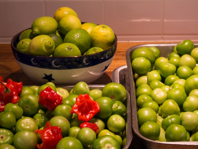 tomatillos with lime and chiles