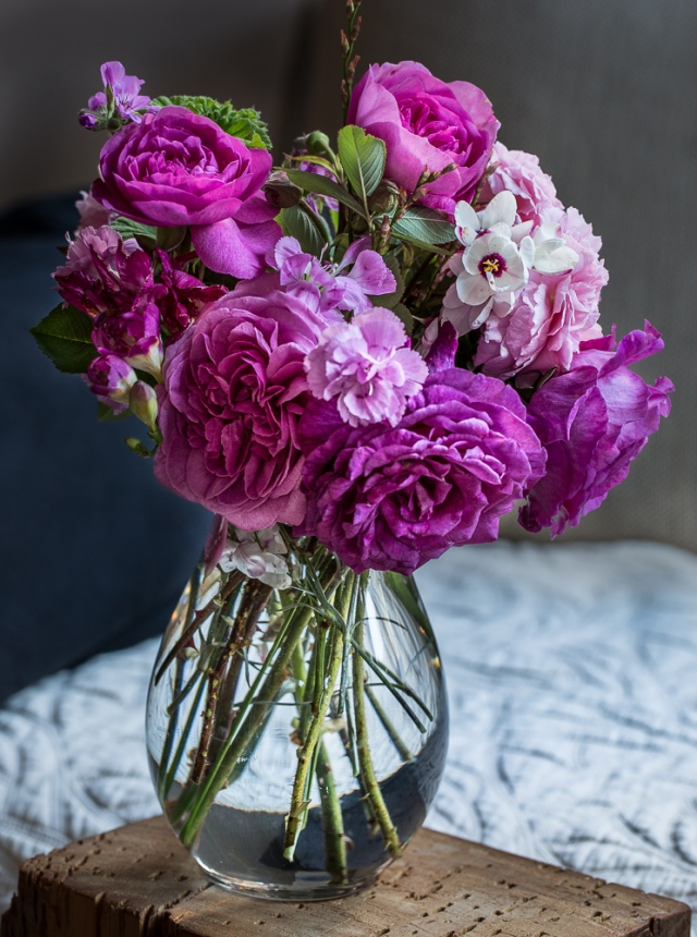 vase of roses pinks and ixias
