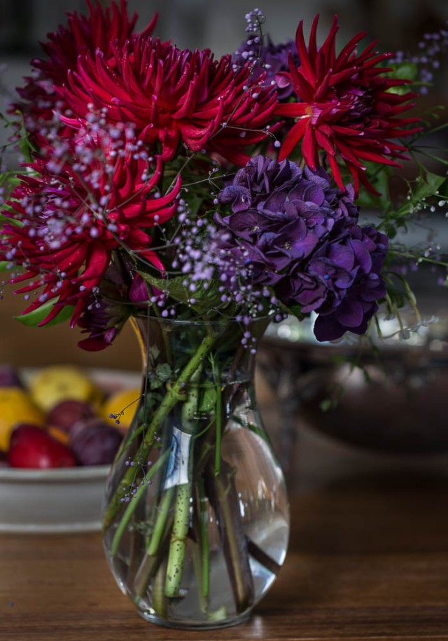 vase of dark red dahlias and purple hydrangeas