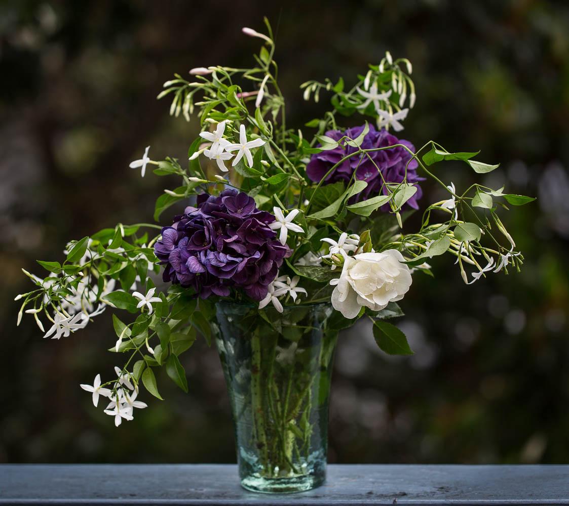 vase of flowers Hydrangea rose and jasmine
