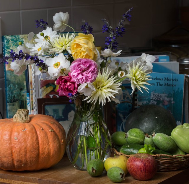 fruit and flowers with pumpkin