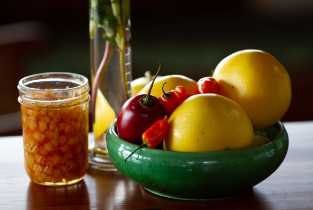 Winter fruit with crystal honey flowers